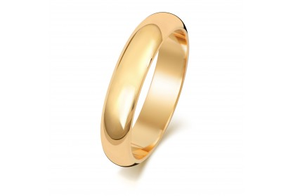 18ct Yellow Gold D Shape 4mm Medium Weight Band